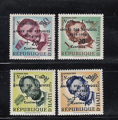 Haiti 1959 Refugee on Lincoln Sc B9 and CB16-18 complete mint never hinged