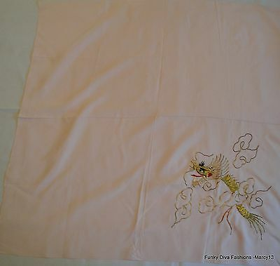 """Unusual Vintage Pink Scarf w Metallic Thread Embroidered Dragon Scarf 27"""" Square"""