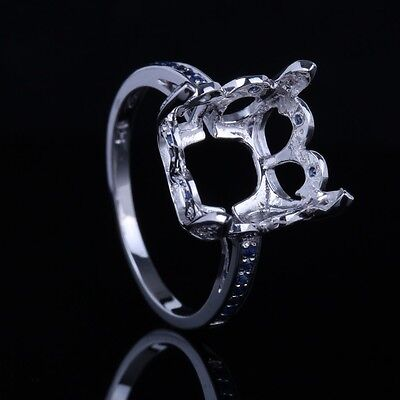 14K White Gold 10x11mm Cushion Sapphire& Diamond Engagement Semi Mount Set Ring