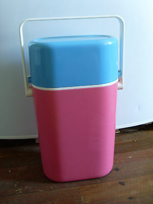 1980s INSULATED DECOR BYO 2 BOTTLE Chiller CARRIER * TURQUOISE & PINK * UNIQUE!
