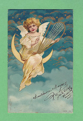 KOPAL FANTASY pc ANGEL playing HARP under STARS in CLOUDS, MOON  Art. CLAPSADDLE