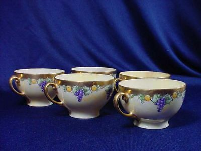 Vintage Lovely Hand Painted Grapes W/ Heavy Gold Punch Or  Coffee Cups Set Of 5