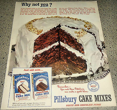 1951 Pillsbury Chocolate Cake Mix  Vintage Food Baking Retro Kitchen Decor Ad