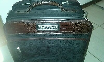 Brighton Croc Embossed Leather Canvas Brown Black Wheeled Briefcase !!!