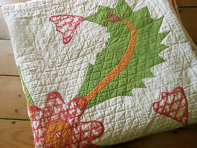 Antique Mid 19thc Primitive Princess Feather Applique Quilt ~Cheddar Green  Red