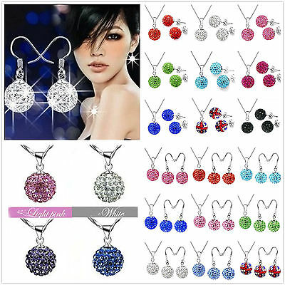 2PCS REAL CZ disco Crystal  925Silver Necklace Chain Silver Earrings Set +box