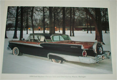 1959 Ford Galaxie 500 Skyliner Convertible car print (red & black, black top )