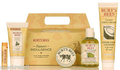 Burt's Bees Organic NATURE'S INDULGENCE Gift: Hand/Foot Cream, Body Lotion/Oil