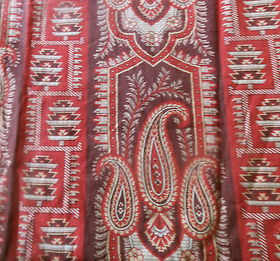 Antique French 19thc Kilim Paisley Cotton Fabric ~ Madder Red Brown