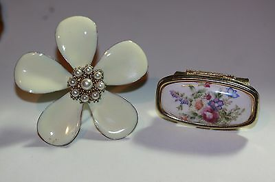 Lot of 2 Vintage Floral Front Hinged Mirrored Lipstick Holder & Flower for Purse