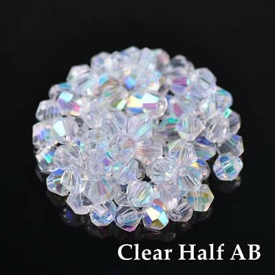 200pcs 3mm Bicone Faceted Crystal Glass Loose Spacer Beads lot Half AB