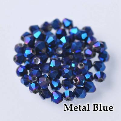 200pcs 3mm Bicone Faceted Crystal Glass Loose Spacer Beads lot Blue Plated