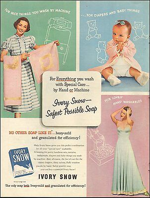 1952 Vintage ad for Ivory Snow Detergent`retro Fashions baby (031216)