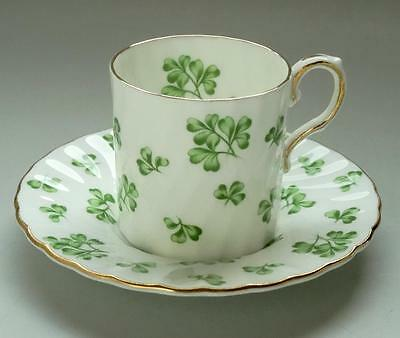 Vintage English Aynsley Fine Bone China Lucky Four Leaf Clover Cup Saucer