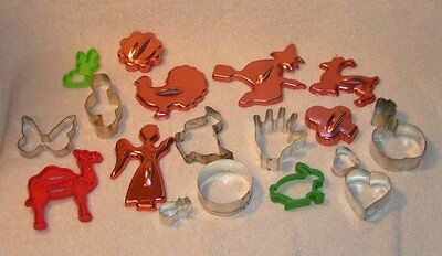 19 vintage Metal / Plastic copper  Cookie Cutters Witch butterfly hand turkey