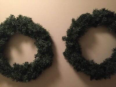 """Set of Two 16"""" Artificial Pine Door Wreath Christmas Undecorated"""