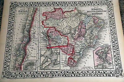 1874 Mitchell Antique Atlas Map-Brazil-Handcolored-Beautiful Border