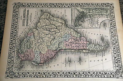 1874 Mitchell Antique Atlas Map-South America-Handcolored-Beautiful Border