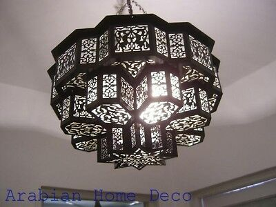 Middle Eastern Moroccan Black Oxidized Brass Chandelier Lamp Ceiling Light