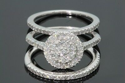 10K White Gold 1.16 CT Women Diamond Engagement Ring Wedding Bands Bridal Set