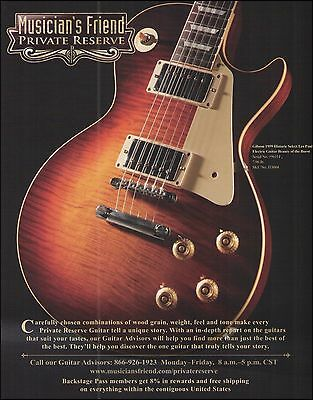 The Gibson 1959 Historic Select Les Paul Guitar ad 8 x 11 advertisement print