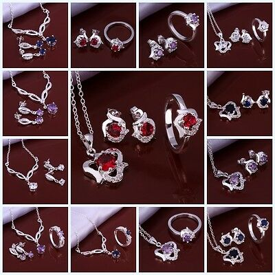 2016 NEW Wholesale Fashion sterling silver  ring necklace earrings set S925 box