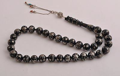 Islamic Prayer Beads-Worry Beads-Black coral,  sterling silver nails inlaid
