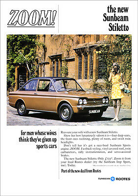 SUNBEAM STILETTO IMP RETRO A3 POSTER PRINT FROM CLASSIC 60's ADVERT