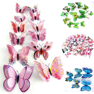 12X Papillon 3D Art Design Decal Stickers Autocollant Muraux Chambre Maison Déco