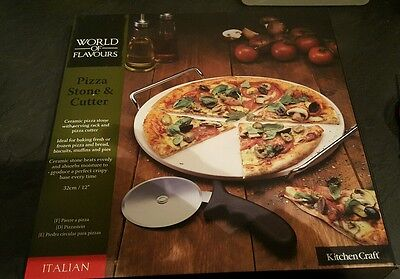 Brand New And Boxed Ceramic Pizza Stone,server & Cutter