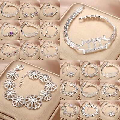 Wholesale Fashion Jewellery Solid925 Silver Bracelet/bangle Lady/Mens Gift +box