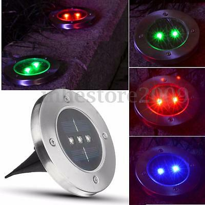 3LED Outdoor Solar Powered Light Buried Garden Pathway Yard Fence In ground Lamp