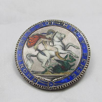 Antique Georgian George Iii Silver Enamel Crown Brooch