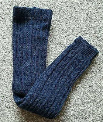 MINI BODEN Girls Navy Cable Knitted Footless Tights. Size 6-7 years. Brand new