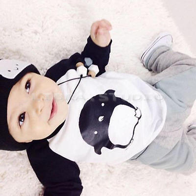 Cute Baby Boys Cartoon Children Outfits Long Sleeve Tops+Pants Casual Sets 4-5 Y