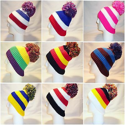 Luxury Fleece Lined Bobble Hat Beanie Mens Womens Winter Bright Loud Funky Retro
