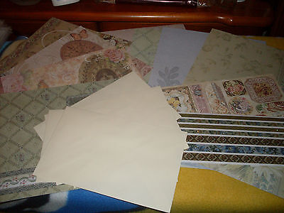 Create & Craft Glittered Floral & Butterfly Papers Card Blanks Embossed Stickers