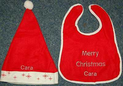 Personalised Embroidered Christmas Baby Hat & Bib Any Name On Both Items