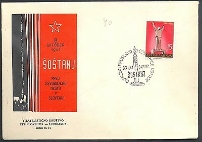 Yugoslavia, 1961, Sostanj, First liberated place in Slovenia, comm. cover & post