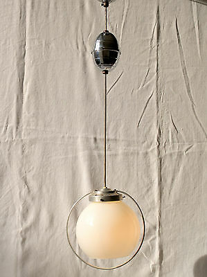 Vintage Mid Century Streamline Chrome & Opaline Glass Rise & Fall Ceiling Light