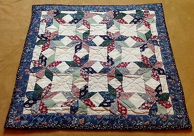 Patchwork Small Quilt, Star, Floral Calicos, Blue, Burgundy, Multi, Hand Quilted