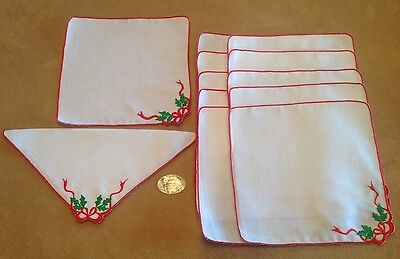 Twelve Vintage Cocktail Napkins, Christmas Holly And Bow, White, Red, Green
