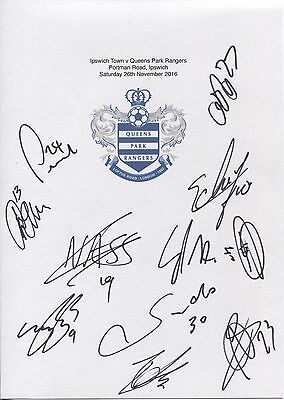 Two A4 white cards with the QPR Badge. Signed by 20 players on 26.11.2016.