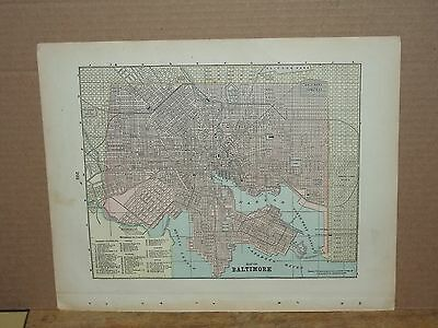 """1897 City Map of Baltimore,Md 14-1/2"""" X 11-5/8"""""""