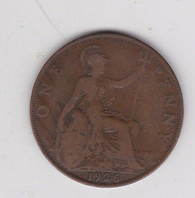 1926 Modified Effigy George V Penny In Used Fine Condition