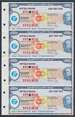 Japan: 1990s Mitsui Bank & Thomas Cook. RARE SET 4 SPECIMEN TRAVELLERS CHEQUES