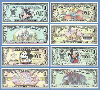 Disney Dollars Collectible Currency (4) Banknote Set