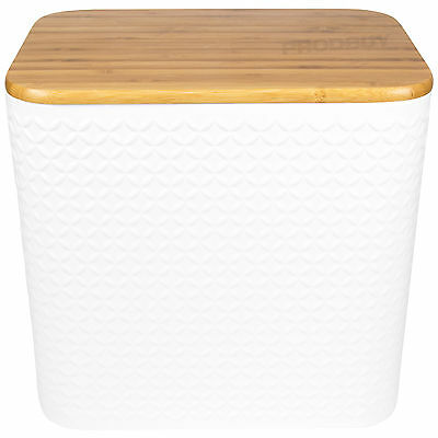 Typhoon Large White Bread Bin Crock Loaf Storage Container Bamboo Cutting Board