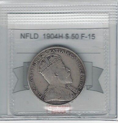 **1904H** Coin Mart Graded NFLD Fifty Cent **F-15**