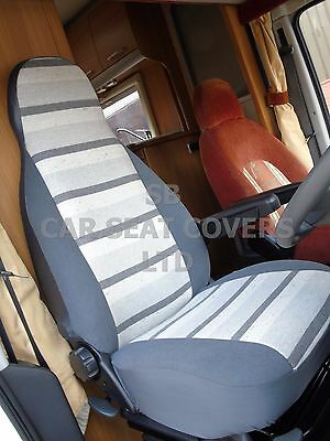 To Fit A Peugeot Boxer  Motorhome, Seat Covers, 2002, Mh-158 George Grey Stripe